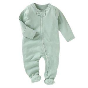 SEAFOAM | Baby toddler organic footie jumpsuit